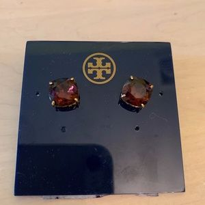 Tory Burch Purple Stone With Gold Earrings